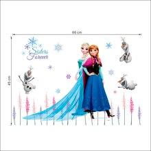 Disney Olaf Elsa Queen Anna Princess Wall Stickers Kids Room Baseboard Home Decoration Cartoon Mural Art Frozen Movie Poster недорго, оригинальная цена