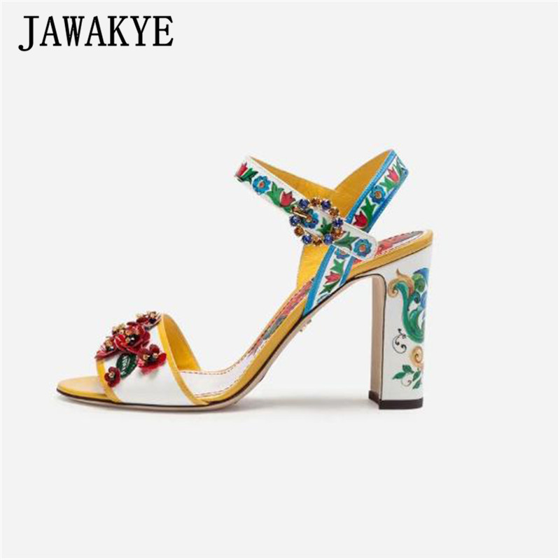 Ethnic Painted Womens Sandals Crystal Flower Patent Leather High Heels One Strap Diamond Buckle 9cm Gladiator Sandals FemaleEthnic Painted Womens Sandals Crystal Flower Patent Leather High Heels One Strap Diamond Buckle 9cm Gladiator Sandals Female