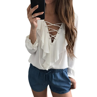Sexy Chiffon Blouse Ruffle Blusas Mujer Womens Tops Lace Up V Neck Strapped Long Sleeve White