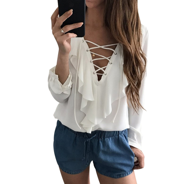 652eefb4634fe Sexy Chiffon Blouse Ruffle Blusas Mujer Womens Tops Lace Up V Neck Strapped  Long Sleeve White Blouse Casual Ladies Tops Shirt