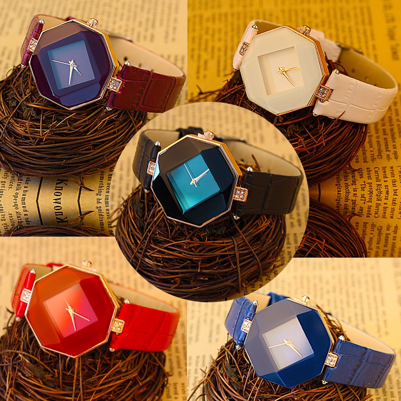 Women Watches Gem Cut Geometry Crystal Leather Quartz Wristwatch Fashion Dress Watch Ladies Gifts Clock Relogio Feminino 5 color 2
