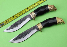2 Options Handmade Forge Hunting Knife 7Cr13Mov Blade Ebony Wood Handle Survival Straight Knife Camping Fixed Knives Multi Tools