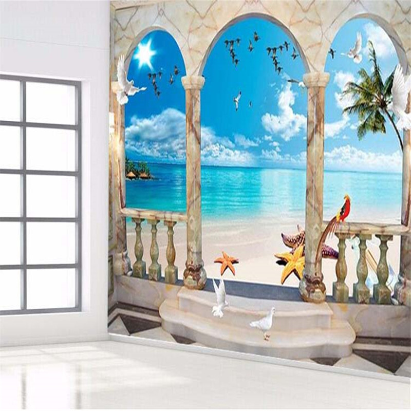 wallpaper 3dHigh quality painting wallpaper Palm beach sea island tourism arches TV sofa ...