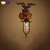 FUMAT Wall Lamps Deer Head Wall Light American Country Bedside Lamp Vintage Industrial Ailse Luminaria Wall Lamp