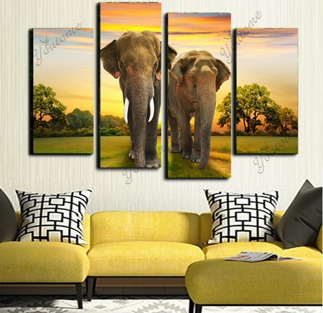 4 piece wall art animals Modern Printed africa painting african ...