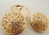 free shippment 24mm 75pcs/lot pure metal rose gold button retro hollow suit dust coat buckles suit coat buttons shank