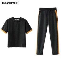 2018 Women Two Piece Set Spring Short Sleeve Plaid T Shirt Side Stripe Drawstring Long Pants