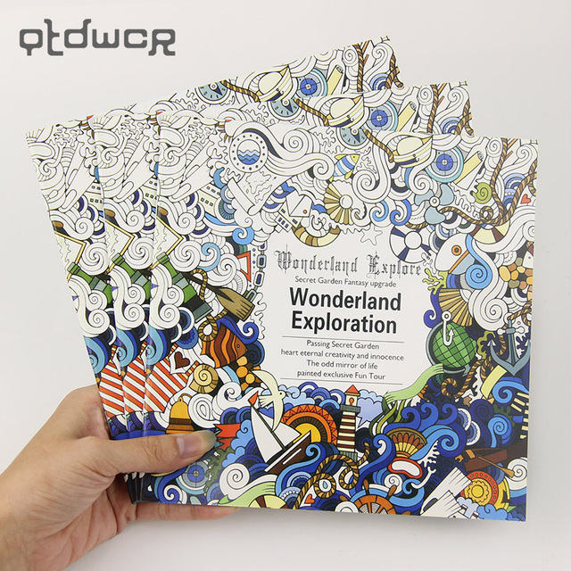 24 pages new wonderland exploration flower black and white diy coloring book painting graffiti book relieve - Diy Coloring Book
