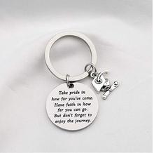 Stainless Steel Words Print Hanging Key Chain Ring Pendant Graduation Gift Decor Dropshi
