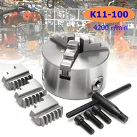 K11 100 3 Jaw 4200 r/min Hardened Steel Lathe Chuck Self Centering Safety Chuck Key Jaws for CNC Drilling Milling Machine