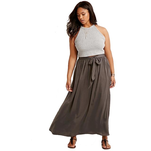 87a54f5795e Plus Size High Waist Lace Up Boho Long Skirts Women Drawstring Maxi Skirt  Beach Skirt Female Chic Vintage Summer Skirt 6XL