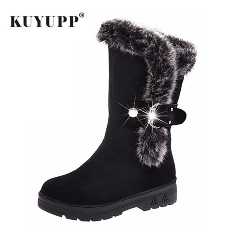 Women Boots Warm Winter Shoes Round Toe Booties Buckle Woman Ankle Boots Footwear Leisure Fur Ladies Shoes Big Size 36-41 DX630 bonjomarisa big size 34 43 winter snow boots women ankle boots 2016 round toe platform winter shoes with fur woman fur shoes