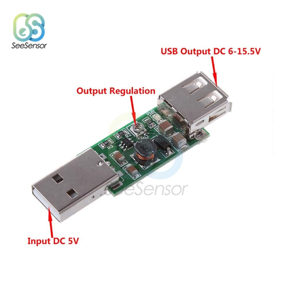 DC-DC USB 5V to 6-15V Step Up Boost Converter Voltage Inverters Module Adjustable Board Output DC 6V 7V 8V 9V 12V