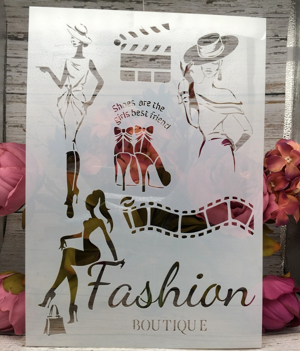 A4 Fashion Lady DIY Layering Stencils Wall Painting Scrapbook Coloring Embossing Album Decorative Paper Card Template