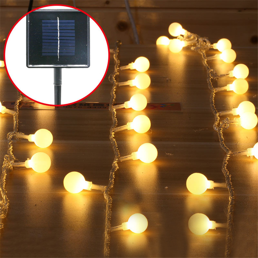 Solar patio lanterns - 5m 40pcs Ball Solar Garden String Light Outdoor Garland Globe Ball Fairy Solar String Patio Lantern