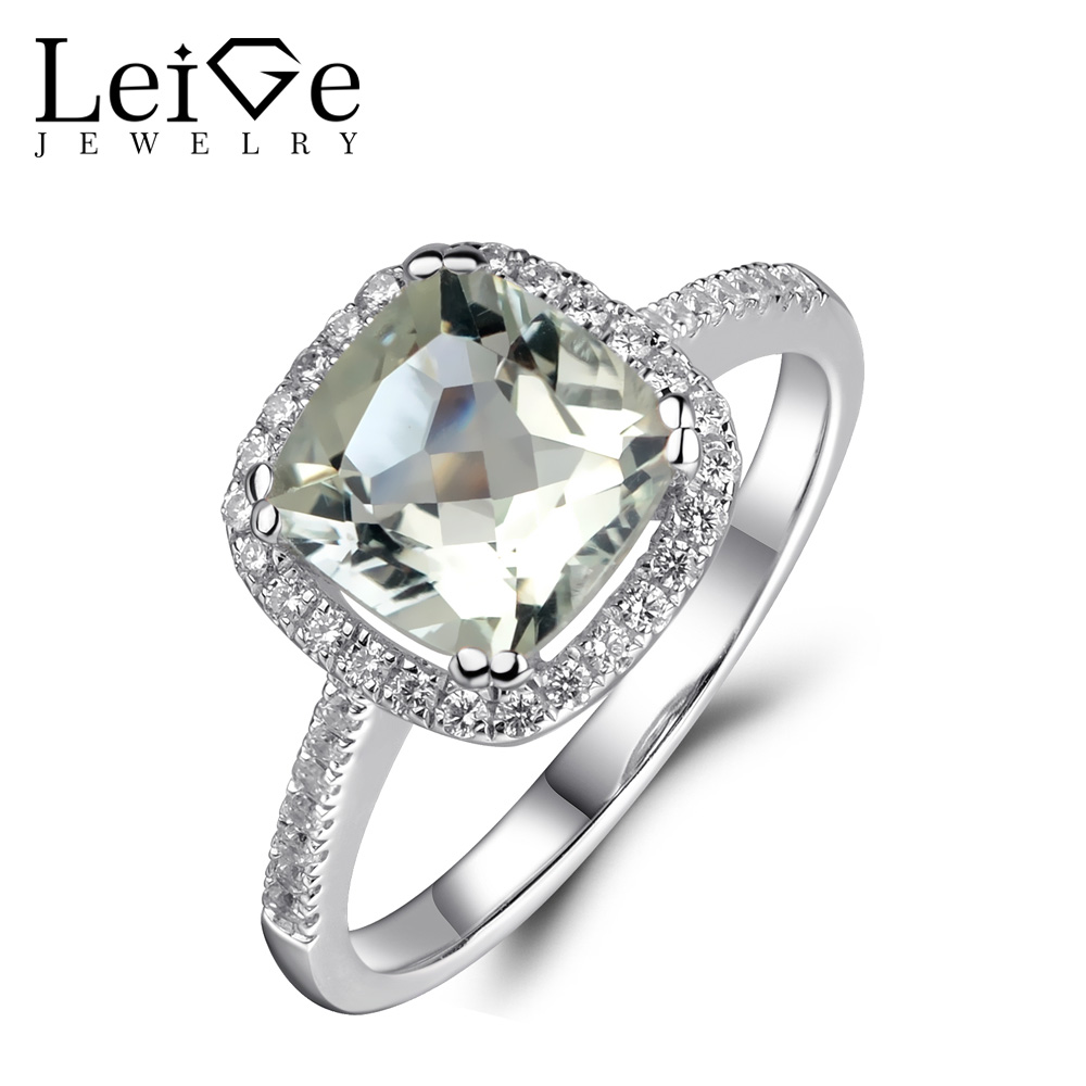Leige Jewelry Natural Green Amethyst Ring Halo Green Wedding Engagement Rings for Women 925 Sterling Silver Anniversary Gift