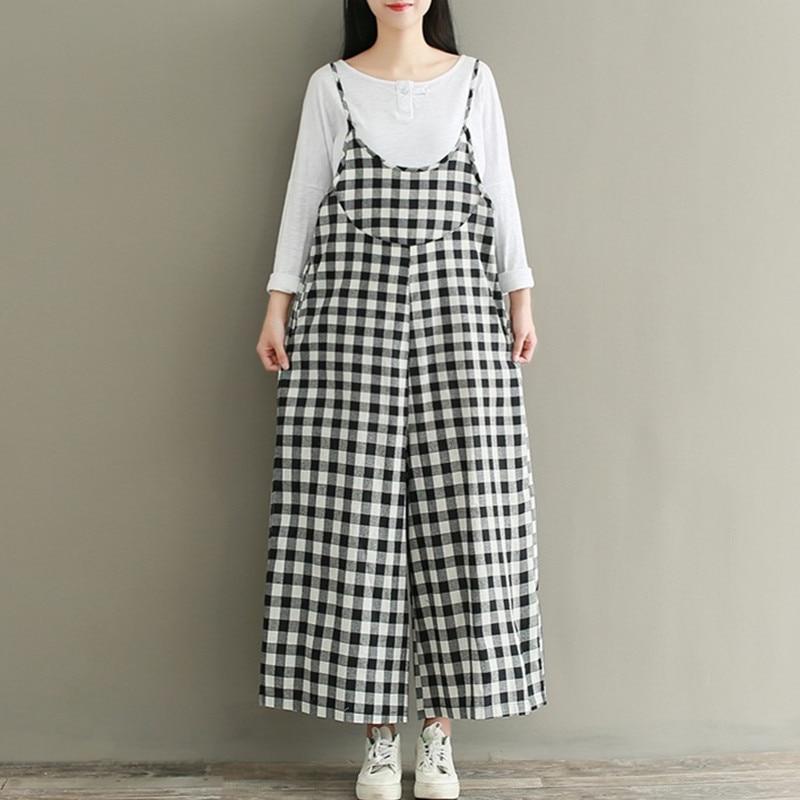 ilstile 2017 Women Fashion Plaids Casual Loose Jumpsuit Wide Leg Dungaree Harem Trousers Cotton Linen Overall Pants Size M-3XL