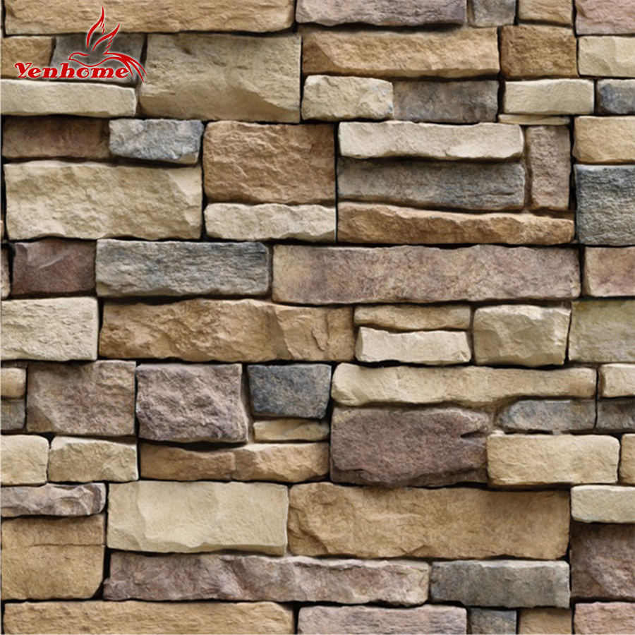 3d Wall Paper Brick Stone Rustic Effect Self-adhesive Wall Sticker Home Decor Pvc 40*320cm Pretty And Colorful Wall Stickers