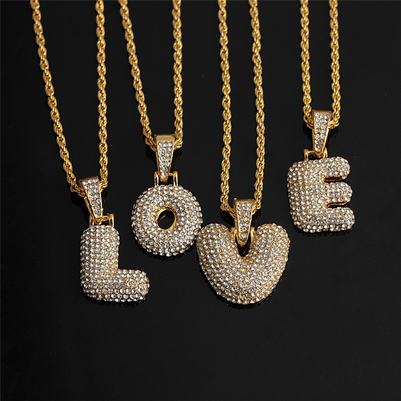 A-Z Custom Name Bubble Letters Pendant Chain For Boy Girl Gold Silver Color Cubic Zircon Hip Hop Kids Gifts Drop Shiping