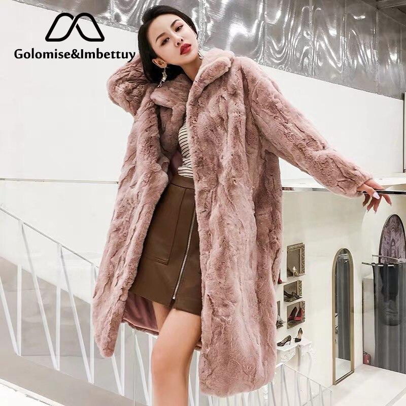 Golomise&Imbettuy Real/Genuine Rex Rabbit Fur Coat Women Winter Natural Rex Rabbit Fur Coat/Jacket
