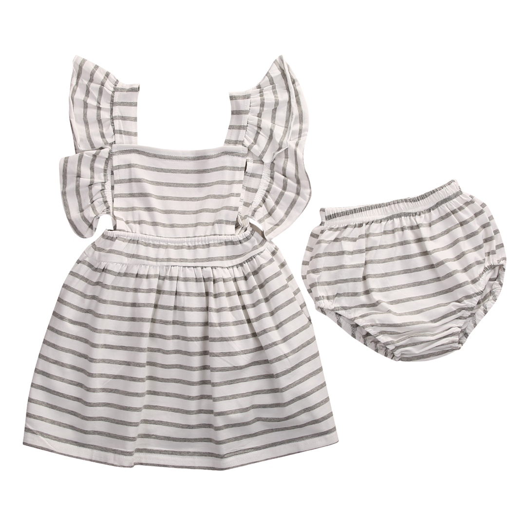 2pcs!!Newborn Baby Girl Dress Infant Striped Fly Sleeve Bowknot Dress+Shorts Bottom Clothes Outfit