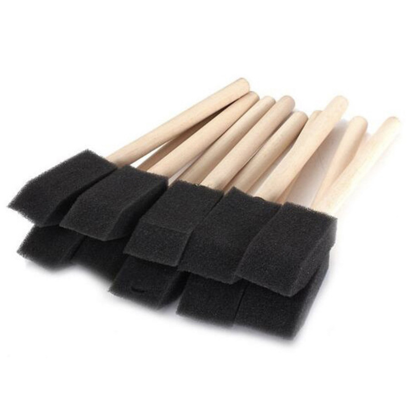6 Pcs/set Crafts Drawing Watercolor Pen Painting Brushes Nylon Hair White Wooden Handle Cross-Border Single Black Sponge Brush
