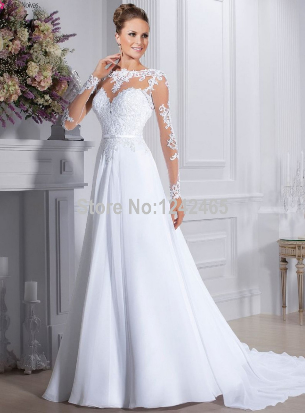 a521e9dead Sexy See Through Vestido De Novia A Line Long Sleeve Bride Dresses Court  Train Chiffon Summer Wedding Dress With Appliqued EN344-in Wedding Dresses  from ...
