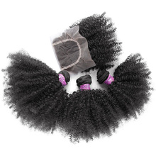 3 Bundles Brazilian Virgin Hair With Closure,Top Quality Afro Kinky Curly Hair,New Arrival Aliexpress YVONNE Hair Products