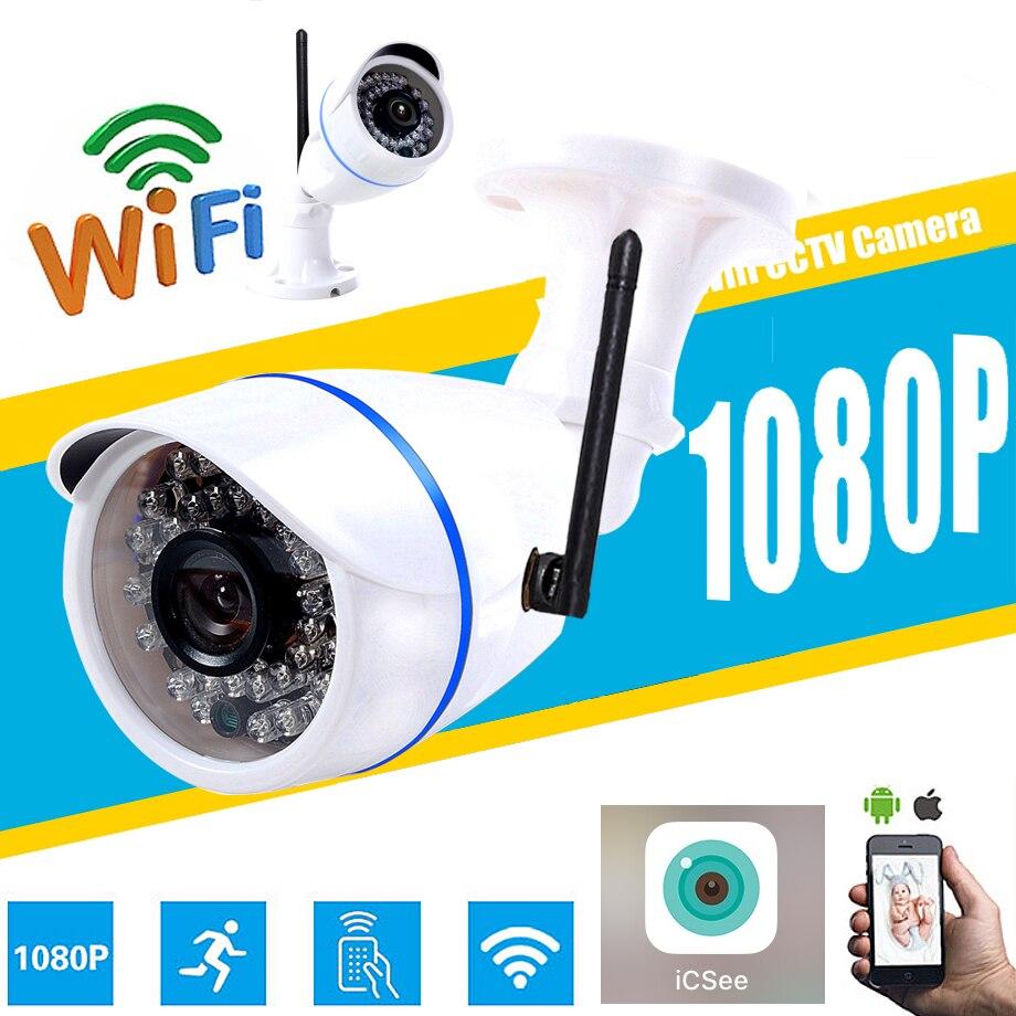 HD 1080 P 960 P 720 P Sans Fil 2.0MP IP Caméra P2P RTSP Détection de Mouvement Étanche WiFi Caméra Bullet avec 32G SD Carte icsee app