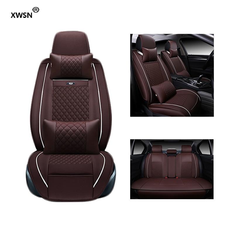 XWSN Universal car seat cover for lexus is f rx ct200h gs300 nx for fiat linea punto evo palio albea uno ducato bravo for fiat 500 idea uno panda ottimo bravo palio punto brand leather black car seat cover front