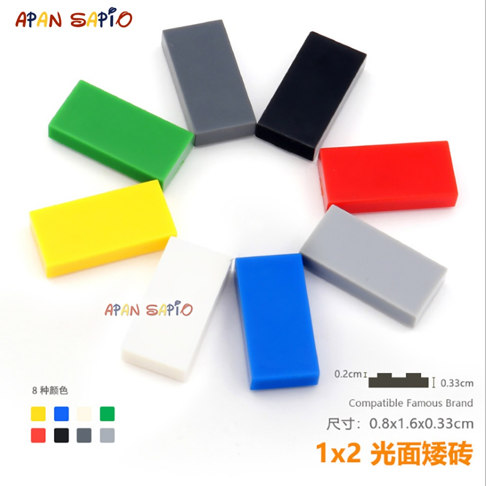 70pcs/lot DIY Blocks Building Bricks Smooth 1X2 Educational Assemblage Construction Toys for Children Size Compatible With Brand
