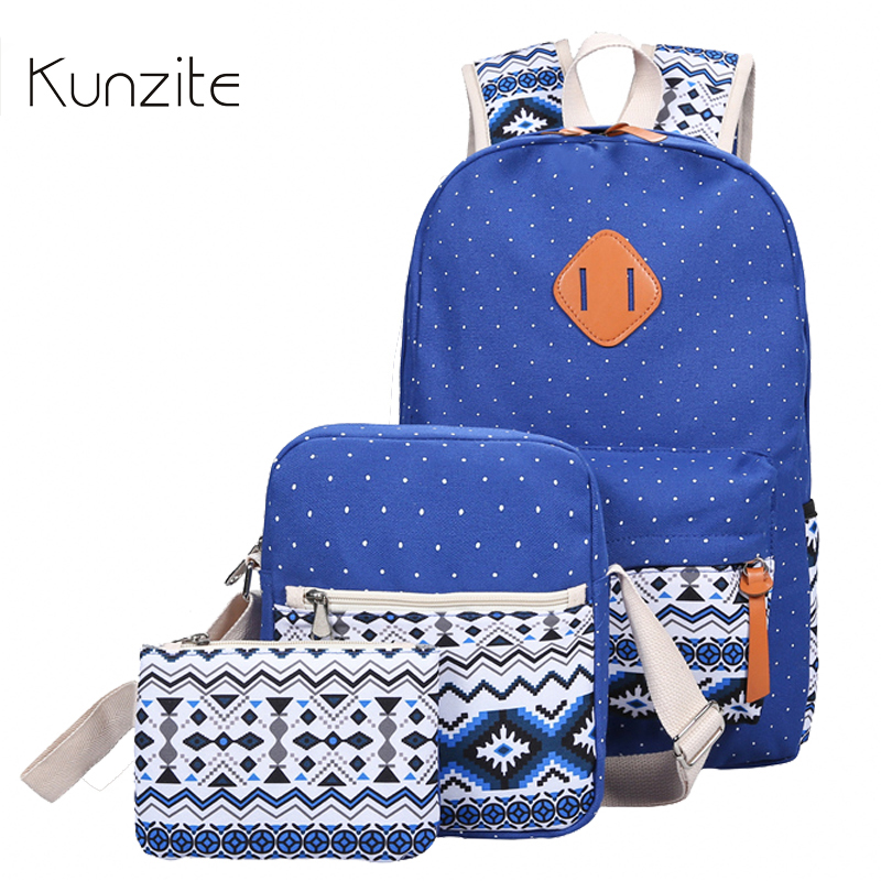 Kunzite Ladies Preppy Style Canvas Backpack Set 3 Women Colorful Printing Flower School Bags High Quality Young Travel Backpacks ciker new preppy style 4pcs set women printing canvas backpacks high quality school bags mochila rucksack fashion travel bags