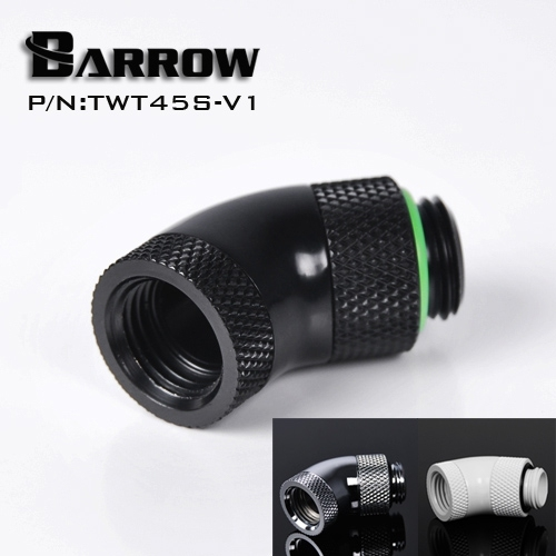Barrow Black White Silver G1/4''thread 45 degree two Rotary Fitting Adapter Rotating 45 degrees water cooling Adaptors TWT45S-V1