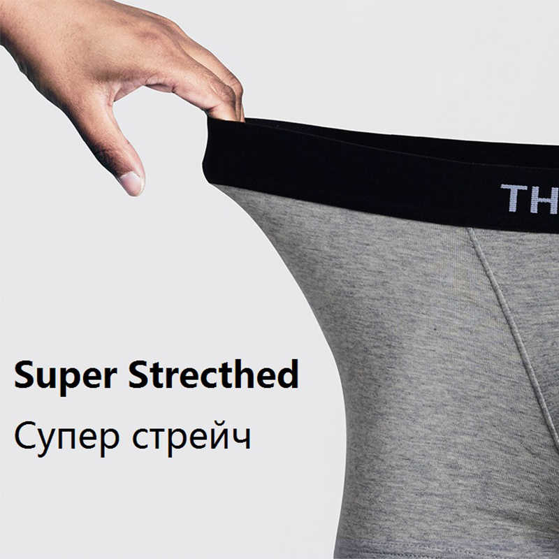 THREEGUN 4 pçs/lote Boxer Shorts Sexy U Homens Convexas Cueca de Algodão Gay Underwear Masculino Da Marca de Grande Porte Cueca vetement homme
