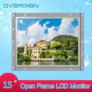 Image 2 - 15 pouces contrôle industriel Lcd moniteur VGA/TouchUSB/HDMI écran Interface cadre ouvert résistance écran tactile métal coque 1024*768