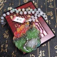 Send A level national certificate Natural colorful jade carving multi color peacock pendant Three color jade pendant chain