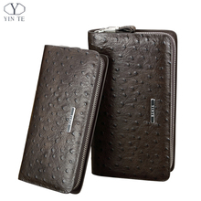 YINTE Men's Clutch Wallets Genuine Leather England Style Bag Passport Purse Men Wrist Bag Ostrich Pattern Cow Leather T026-2