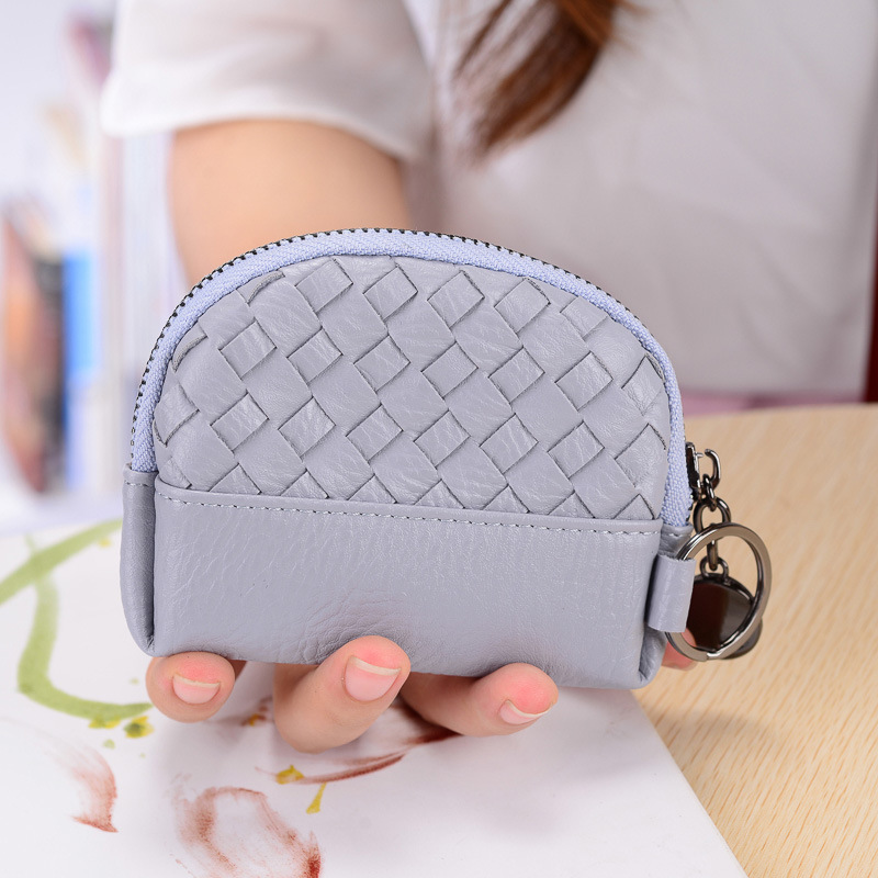 Small Cute Lady Purse Coin Designer Vintage Weave Leather Women Change Pouch Key Holder Ladies Money Bags portefeuille femme New