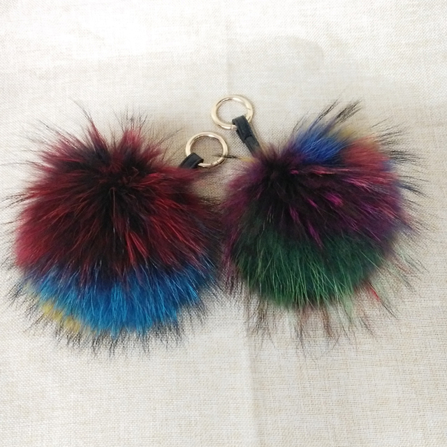 Multi Colored Raccoon Fur Keychain Big Size Genuine Fox Fur Pompom Keychain In Multicolor Pompom Bag Accessories Fur With Ring