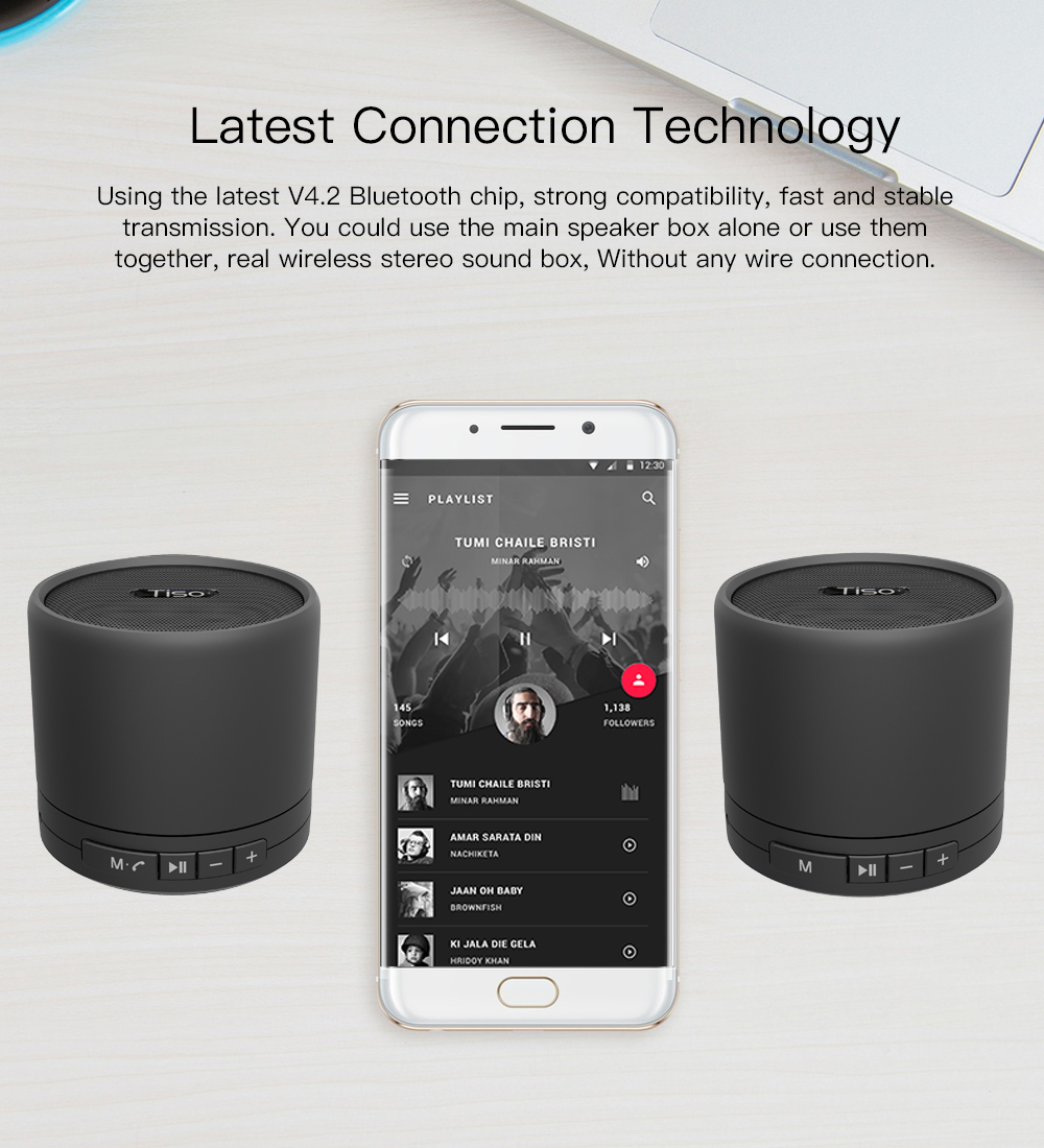 866b8dd56ad Tiso T5 TWS true wireless stereo Bluetooth V4.2 speakers metal 10W ...