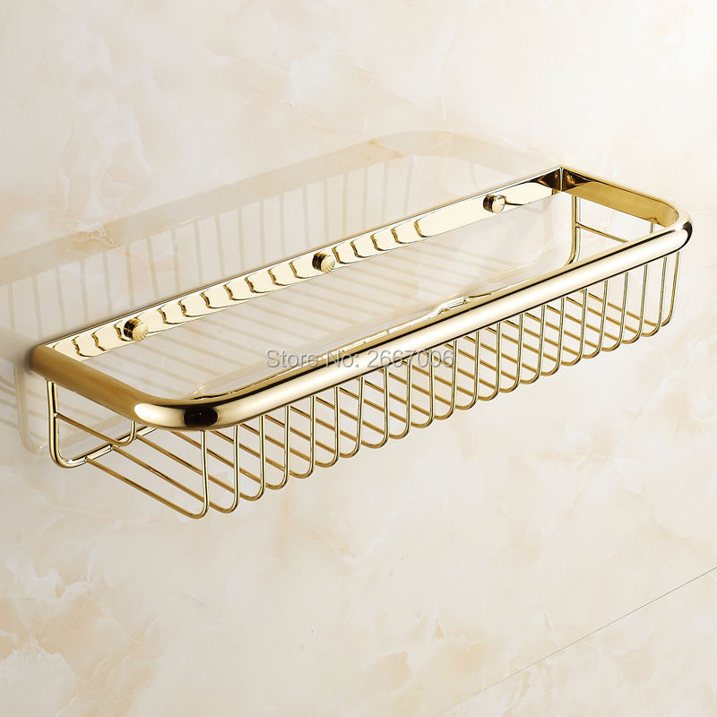 Free Shipping Hotel Royal 45CM Bathroom Kitchen Wall Mounted Brass Basket Shelf Golden Finish Sauce Shampoo Shelf Hanger ZR2507 отлив белый 250мм 2м
