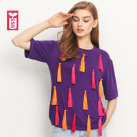 SSS Unique Colorful Tassel Streewear Womens Short Sleeves T Shirts Ladys Purple Tees Tops Female Big