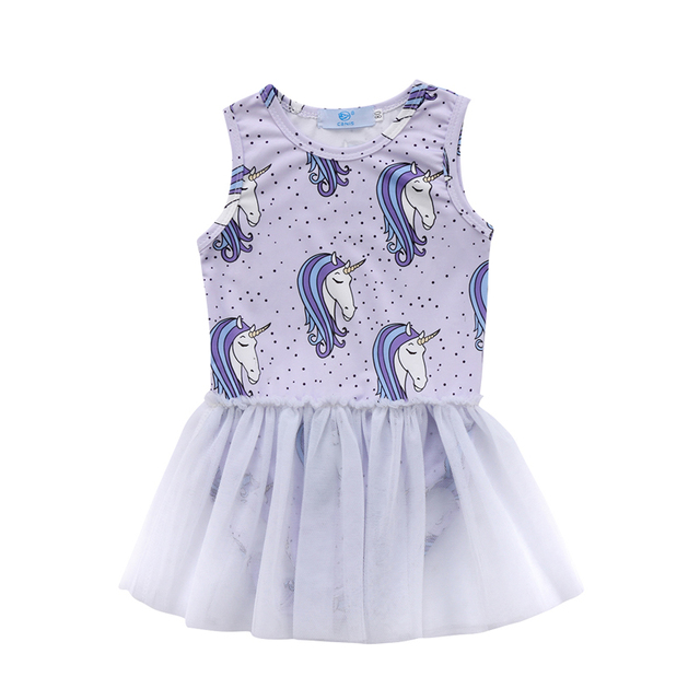 e5fe287e0b5b Newly Summer Lovely Pretty Toddler Baby Girls Dress Unicorn Print O-Neck  Covered Button Romper With Lace Tutu Mini Dress