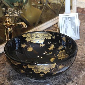 Chiny artystyczny ręcznie robione porcelanowe ceramiczne sztuki malowanie łazienka czarne umywalki okrągły blat umywalka umywalki łazienkowe tanie i dobre opinie JINGYILE ROUND Blat umywalki Szampon umywalki Ręcznie malowane Ociekaczem 2V63 Jeden otwór as show picture porcelain L420*W420*H150mm
