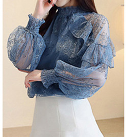 Immortal Lace Blouse Women Look Slim and Elegant with Chiffon Shirts