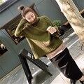 [XITAO] 2016 Corea Del Sur de La Moda de Invierno Engrosamiento Suelta Batwing Mangas de Cuello Alto Color Puro Jerseys Suéter Mujer LYA-005