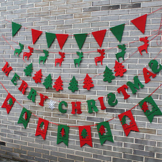 Merry Christmas Garland Bunting Banner Set Christmas Party Decoration Party Photo Prop Booth