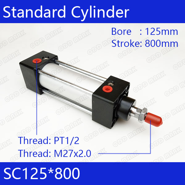 SC125*800 Free shipping Standard air cylinders valve 125mm bore 800mm stroke single rod double acting pneumatic cylinder cdu bore 6 32 stroke 5 50d free mount cylinder double acting single rod more types refer to form