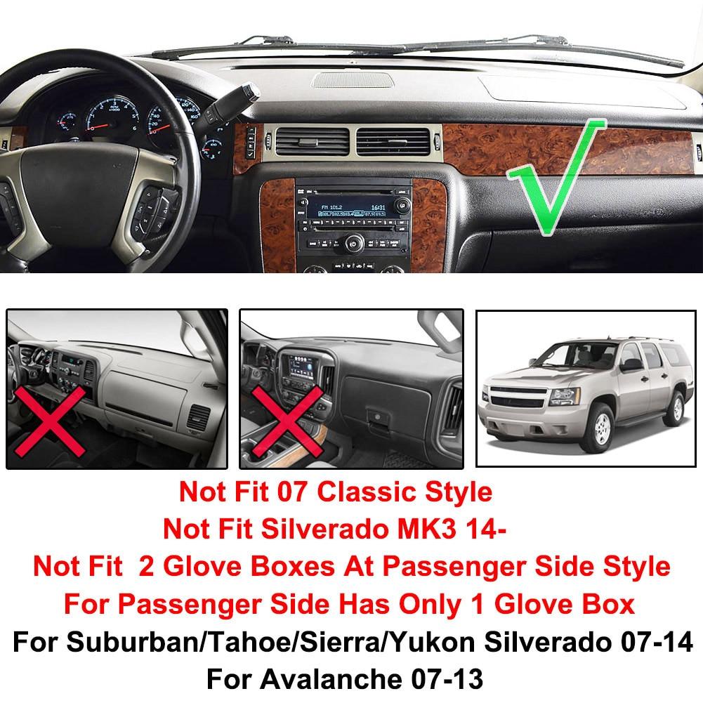 SPEEDWOW Dashboard Dash Board Cover Mat Carpet Compatible with 2007-2014 Chevy Silverado Suburban Tahoe Avalanche GMC Yukon Sierra