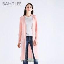 BAHTLEE spring Women's tencel  Coat Knitted long Cardigan sweater anti-ultraviolet v-neck Long Sleeves wool thin light Button цены